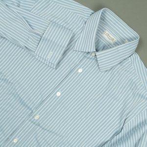 Charvet Blue Striped Cotton Dress Shirt Size 17